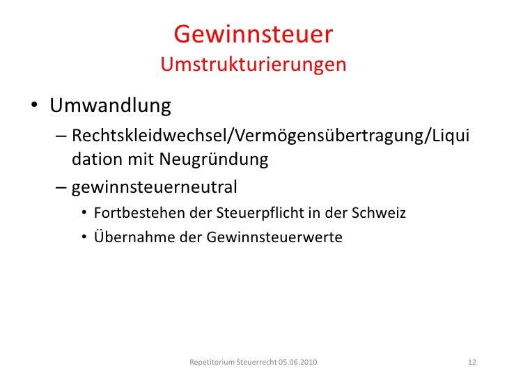 GewinnsteuerSteuerobjekt<br />Reingewinn (DBG 57/StHG 24 I)<br />Massgeblichkeitsprinzip (DBG 58 I/StHG 24 I)<br />handels...