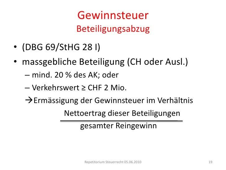 GewinnsteuerUmstrukturierungen<br />Aufspaltung/Abspaltung<br />Fortbestehen der Steuerpflicht in der Schweiz<br />Übernah...