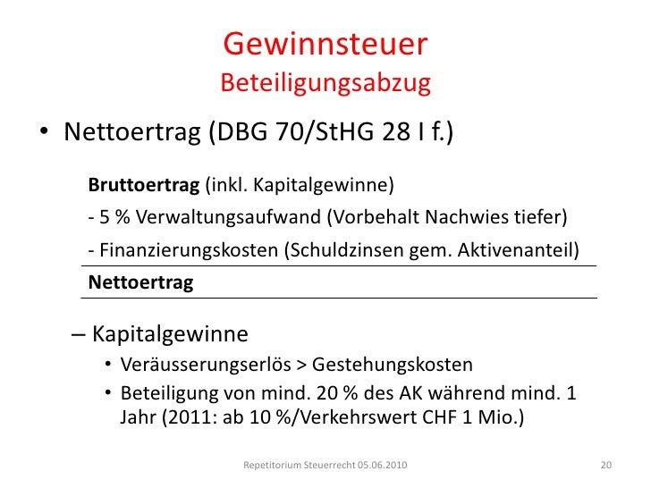 GewinnsteuerUmstrukturierungen<br />Ausgliederung (DBG 61 I d/StHG 24 III d)<br />Fortbestand Steuerpflicht in der Schweiz...