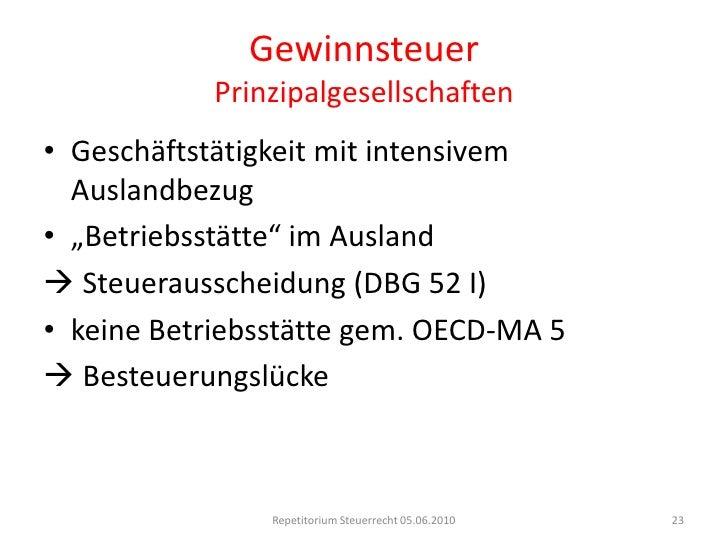 GewinnsteuerBeteiligungsabzug<br />Repetitorium Steuerrecht 05.06.2010<br />18<br />A<br />B<br />C<br />D-AG<br />E-AG<br...