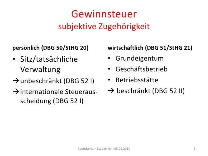 Gewinnsteuersubjektive Zugehörigkeit<br />Repetitorium Steuerrecht 05.06.2010<br />6<br />persönlich (DBG 50/StHG 20)<br /...