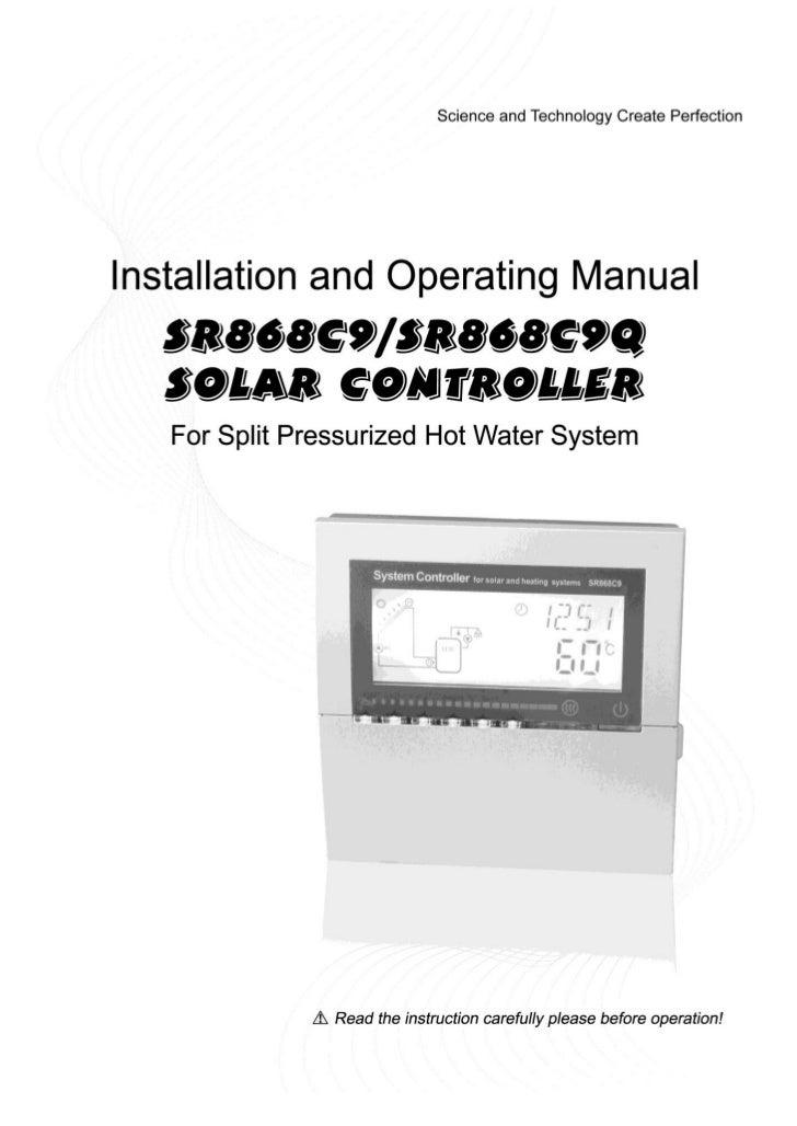 Operating manualFor split pressurized solar hot water systemcontrollerModel SR868C9Q/SR868C9