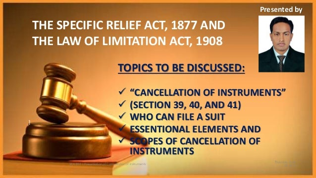 "specific relief [aayush mitruka is a lawyer based in new delhi an earlier post on the topic is available here] in the wake of india's poor ranking in terms of enforcing contracts and ease of doing business, the government decided to amend the 54 year old specific relief act, 1963 (the ""act"")."