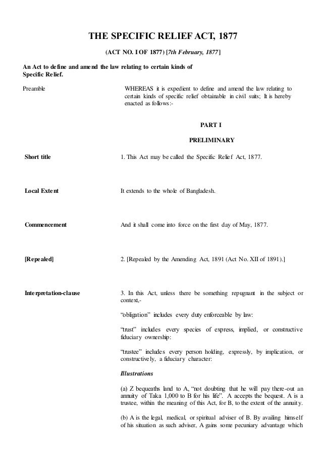 Specific Relief Act 1877 Pdf