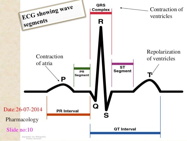 Contraction  of atria  Contraction of  ventricles  Repolarization  of ventricles  Date:26-07-2014  Pharmacology  Slide no:...