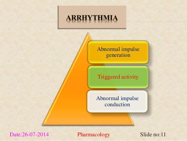 Abnormal impulse  generation  Triggered activity  Abnormal impulse  conduction  Date:26-07-2014 Pharmacology Slide no:11