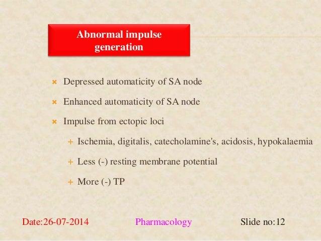 Abnormal impulse  generation   Depressed automaticity of SA node   Enhanced automaticity of SA node   Impulse from ecto...