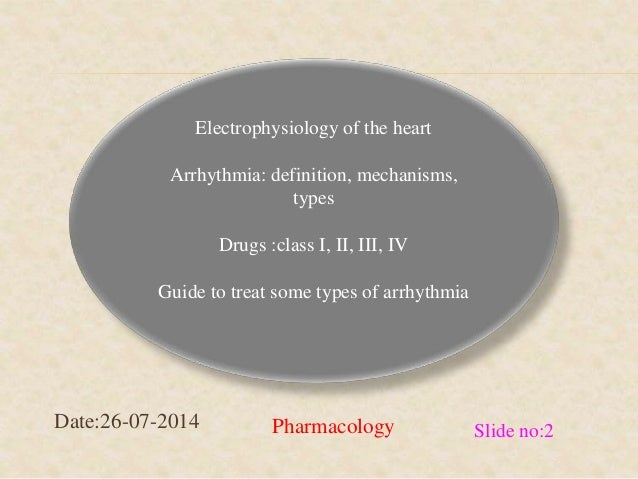 Electrophysiology of the heart  Arrhythmia: definition, mechanisms,  types  Drugs :class I, II, III, IV  Guide to treat so...