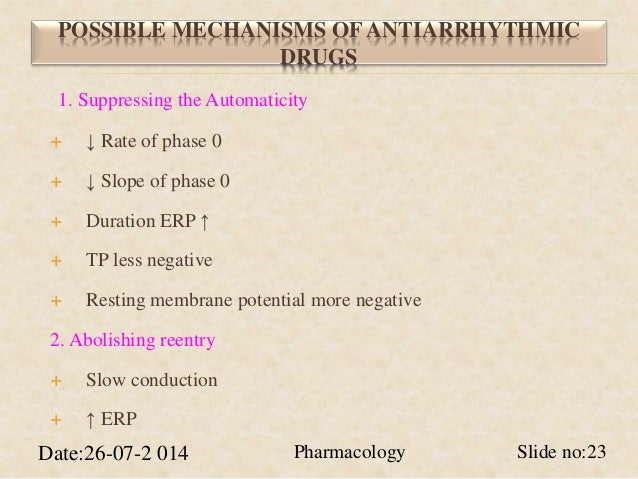 POSSIBLE MECHANISMS OF ANTIARRHYTHMIC  DRUGS  1. Suppressing the Automaticity   ↓ Rate of phase 0   ↓ Slope of phase 0  ...