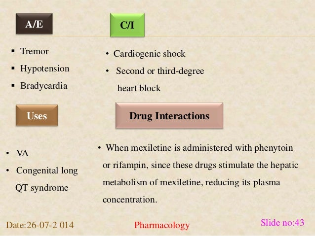 A/E C/I   Tremor   Hypotension   Bradycardia  • Cardiogenic shock  • Second or third-degree  heart block  Uses Drug Int...