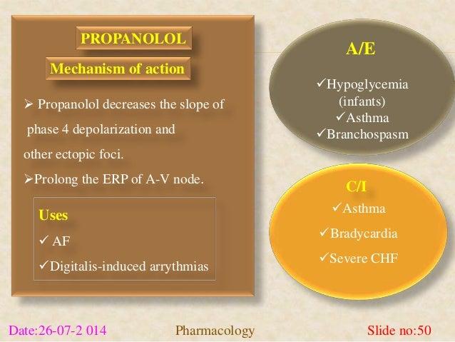 Hypoglycemia  (infants)  Asthma  Branchospasm  C/I  Asthma  Bradycardia  Severe CHF  PROPANOLOL  Mechanism of action...