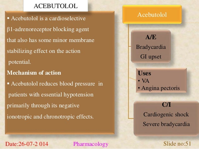  Acebutolol is a cardioselective  β1-adrenoreceptor blocking agent  that also has some minor membrane  stabilizing effect...