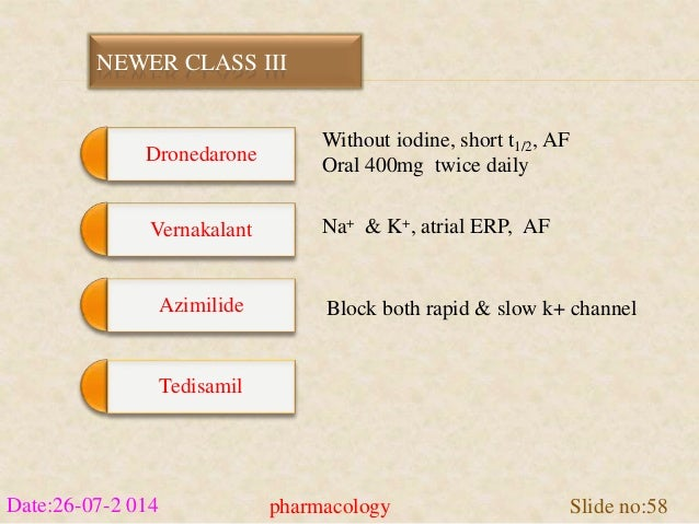 NEWER CLASS III  Dronedarone  Vernakalant  Azimilide  Tedisamil  Without iodine, short t1/2, AF  Oral 400mg twice daily  N...