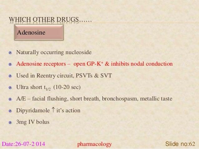 WHICH OTHER DRUGS……  Adenosine  Naturally occurring nucleoside  Adenosine receptors – open GP-K+ & inhibits nodal conducti...