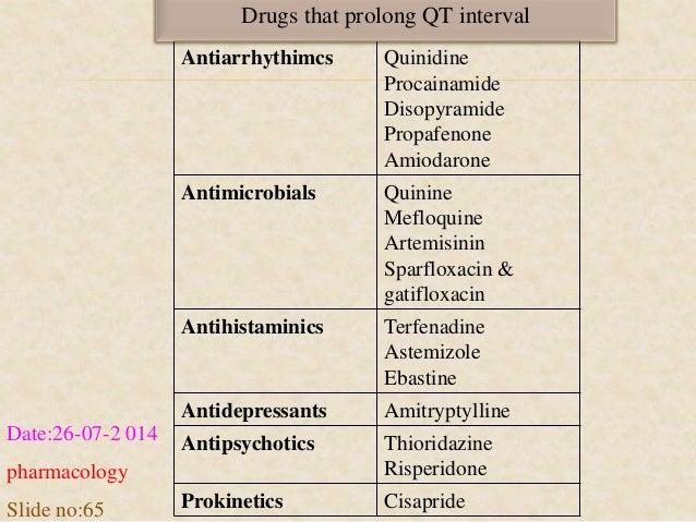 Drugs that prolong QT interval  Antiarrhythimcs Quinidine  Procainamide  Disopyramide  Propafenone  Amiodarone  Antimicrob...
