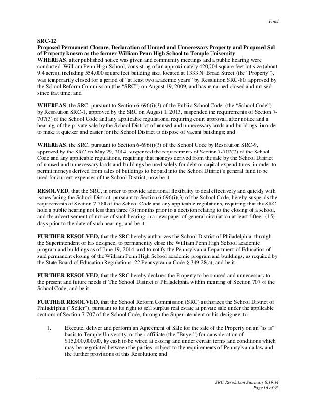Final SRC Resolution Summary 6.19.14 Page 16 of 92 SRC-12 Proposed Permanent Closure, Declaration of Unused and Unnecessar...