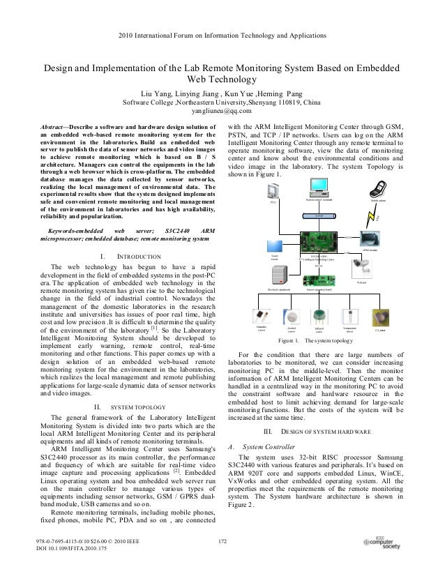 2010 International Forum on Information Technology and Applications  Design and Implementation of the Lab Remote Monitorin...