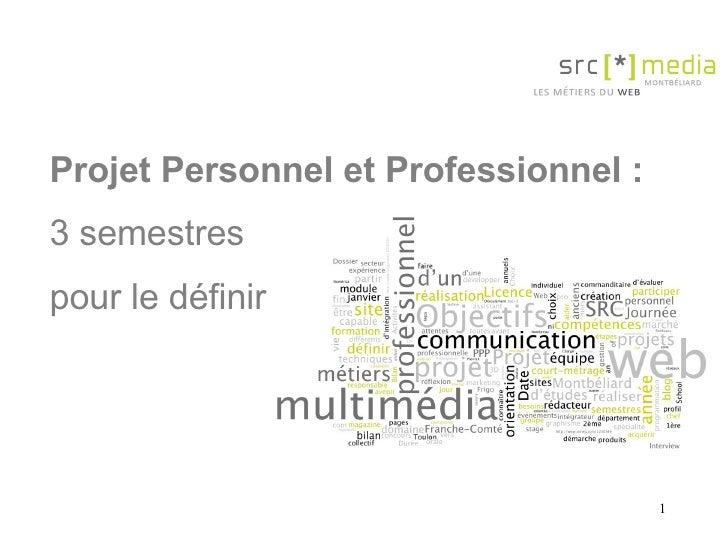 Projet Personnel et Professionnel :   3 semestres  pour le définir