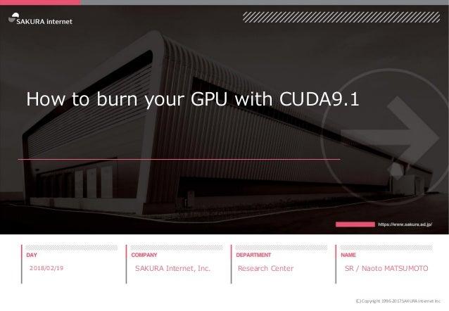 How to burn your GPU with CUDA9.1 2018/02/19 SAKURA Internet, Inc. Research Center SR / Naoto MATSUMOTO (C) Copyright 1996...