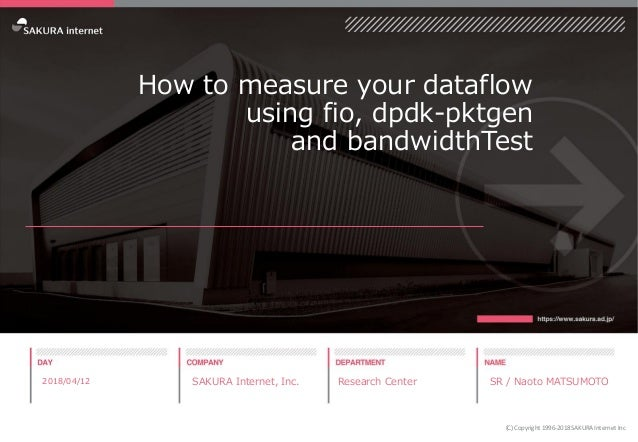 How to measure your dataflow using fio, dpdk-pktgen and bandwidthTest 2018/04/12 SAKURA Internet, Inc. Research Center SR ...