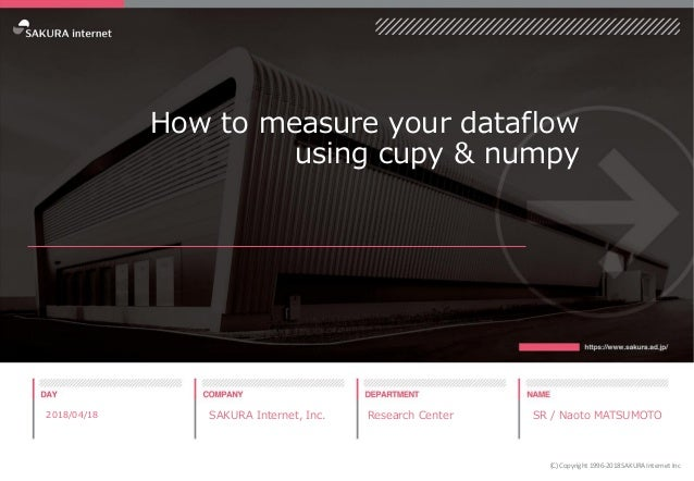 How to measure your dataflow using cupy & numpy 2018/04/18 SAKURA Internet, Inc. Research Center SR / Naoto MATSUMOTO (C) ...