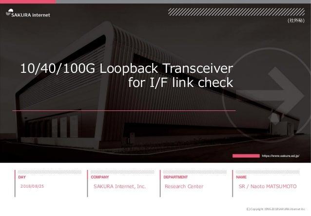10/40/100G Loopback Transceiver for I/F link check 2018/08/25 SAKURA Internet, Inc. Research Center SR / Naoto MATSUMOTO (...