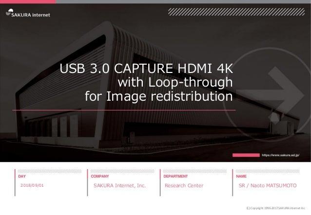 USB 3.0 CAPTURE HDMI 4K with Loop-through for Image redistribution 2018/09/01 SAKURA Internet, Inc. Research Center SR / N...