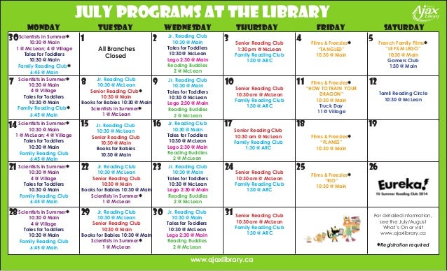 Jr. Reading Club 10:30 @ Main Tales for Toddlers 10:30 @ McLean Lego 2:30 @ Main Reading Buddies 2 @ McLean Films & Freezi...
