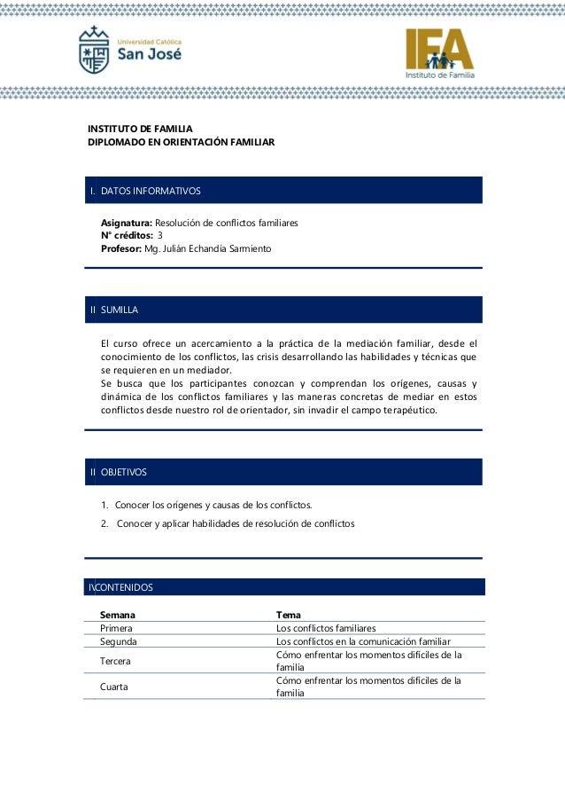 INSTITUTO DE FAMILIA DIPLOMADO EN ORIENTACI�N FAMILIAR I. DATOS INFORMATIVOS Asignatura: Resoluci�n de conflictos familiar...