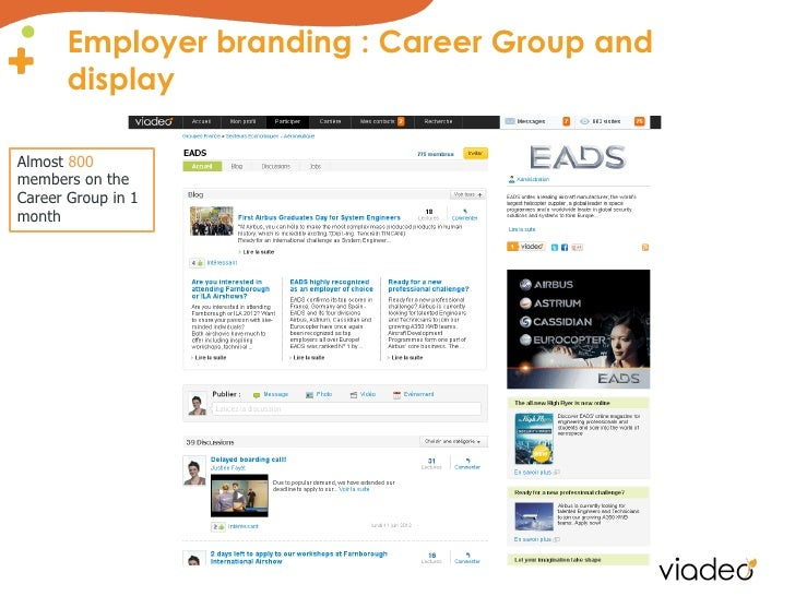 Employer branding : Career Group and       displayAlmost 800members on theCareer Group in 1month