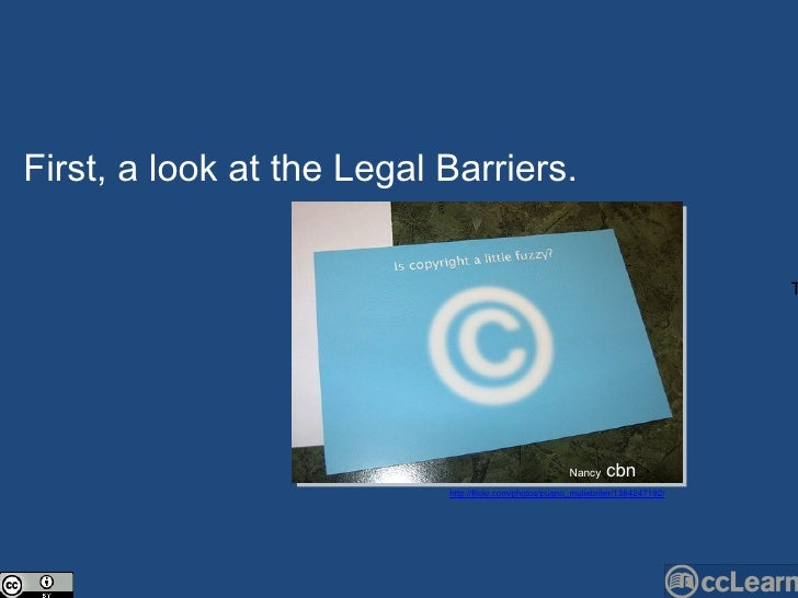 Text First, a look at the Legal Barriers.  Nan c y  cbn http://flickr.com/photos/pugno_muliebriter/1384247192/