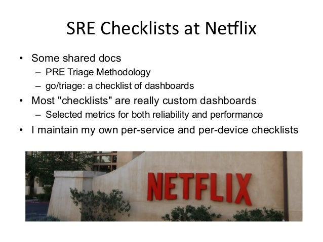 SRE  Performance  Checklists   The following are: • Cloud performance checklists/dashboards • SSH/Linux checklists...