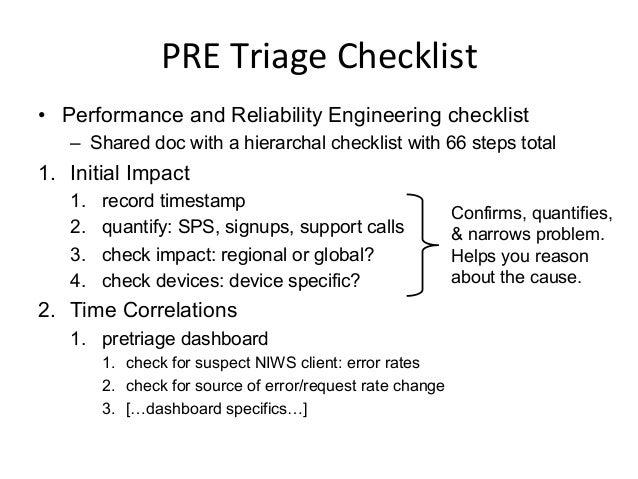 PRE  Triage  Checklist.  cont.   • 3. Evaluate Service Health – perfvitals dashboard – mogul dependency correla...