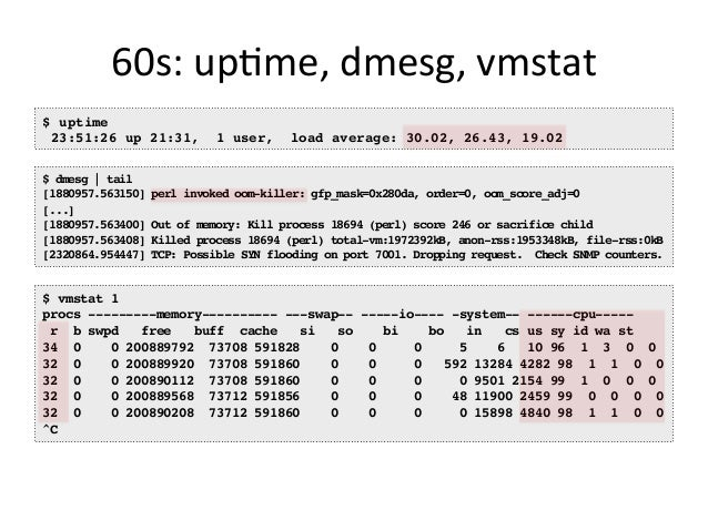 60s:  mpstat   $ mpstat -P ALL 1 Linux 3.13.0-49-generic (titanclusters-xxxxx) 07/14/2015 _x86_64_ (32 CPU) 07:38:49 P...