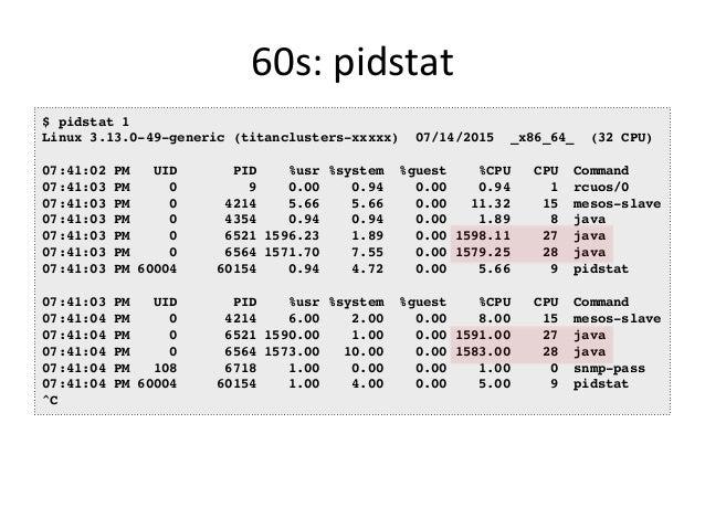 60s:  iostat   $ iostat -xmdz 1 Linux 3.13.0-29 (db001-eb883efa) 08/18/2014 _x86_64_ (16 CPU) Device: rrqm/s wrqm/s r/...