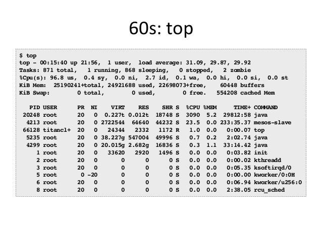 Other  Analysis  in  60s   • We need such checklists for: – Java – Cassandra – MySQL – Nginx – etc… • Can f...