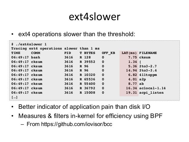 BPF   • That file system checklist should be a dashboard: – FS & disk latency histograms, heatmaps, IOPS, outlier log ...