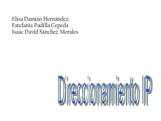 Elisa Damián Hernández Estefanía Padilla Cepeda Isaac David Sánchez Morales