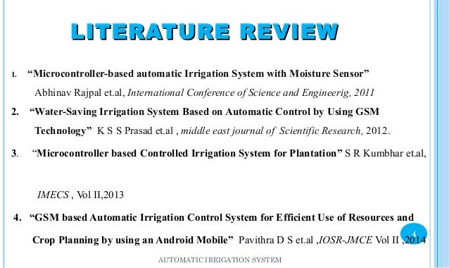 A Survey of Automated Gsm Based Irrigation Systems Essay Sample