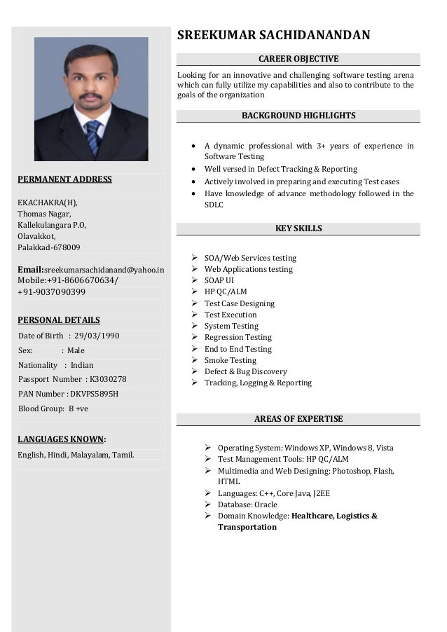 sreekumar software tester resume manual testing resumes