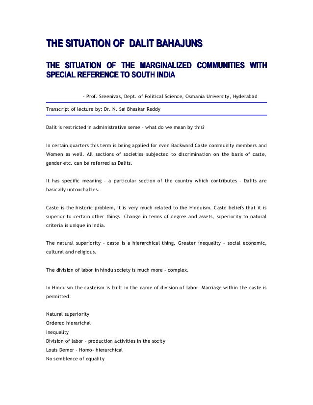 THE SITUATION OF DALIT BAHAJUNSTHE SITUATION OF DALIT BAHAJUNS THE SITUATION OF THE MARGINALIZED COMMUNITIES WITHTHE SITUA...