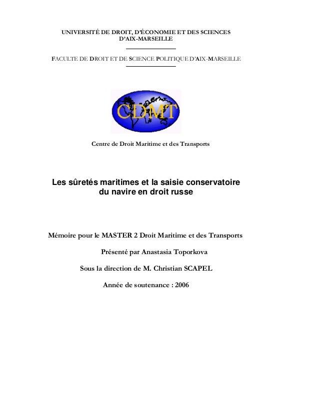 UNIVERSITÉ DE DROIT, D'ÉCONOMIE ET DES SCIENCES D'AIX-MARSEILLE FACULTE DE DROIT ET DE SCIENCE POLITIQUE D'AIX-MARSEILLE C...