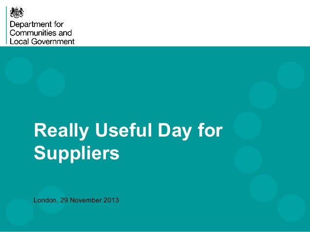 Really Useful Day for Suppliers London, 29 November 2013