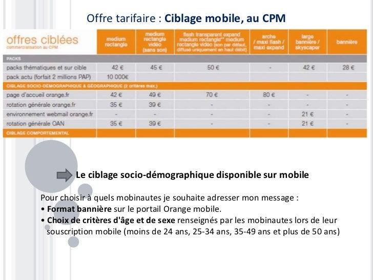 Offre tarifaire : Ciblage mobile, au CPM         Le ciblage socio-démographique disponible sur mobilePour choisir à quels ...