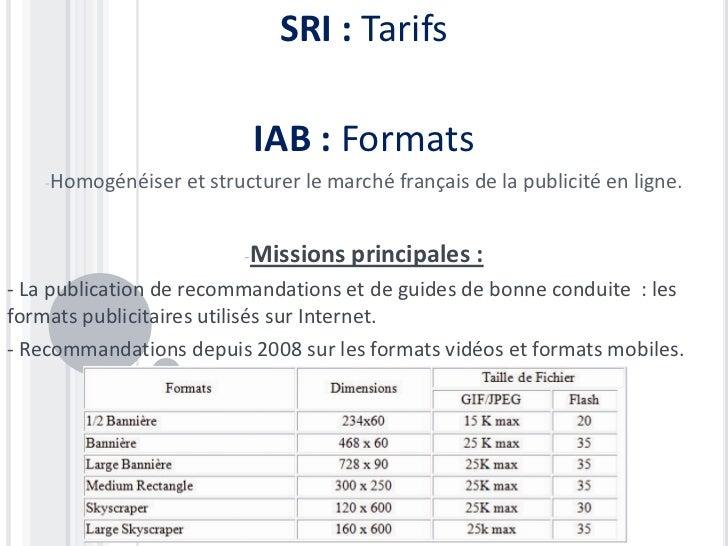 SRI : Tarifs                           IAB : Formats    -Homogénéiser   et structurer le marché français de la publicité e...