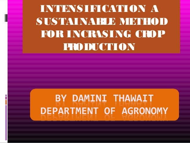 INTENSIFICATION A SUSTAINABLE METHOD FOR INCRASING CROP PRODUCTION