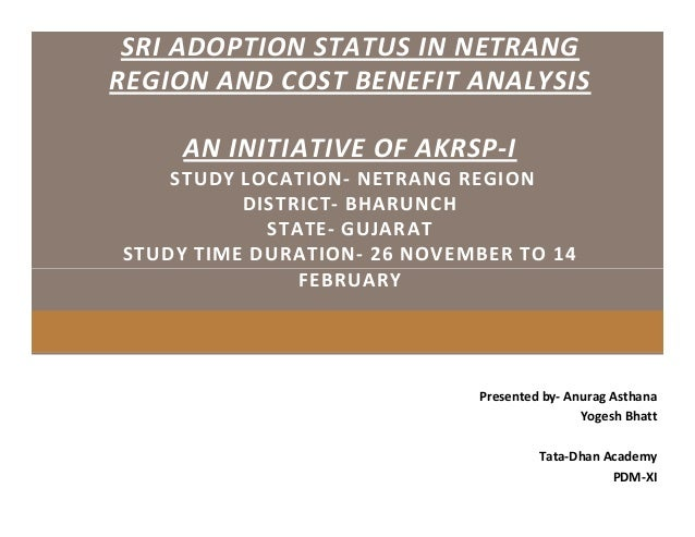 SRI ADOPTION STATUS IN NETRANG REGION AND COST BENEFIT ANALYSIS AN INITIATIVE OF AKRSP-I STUDY LOCATION- NETRANG REGION DI...