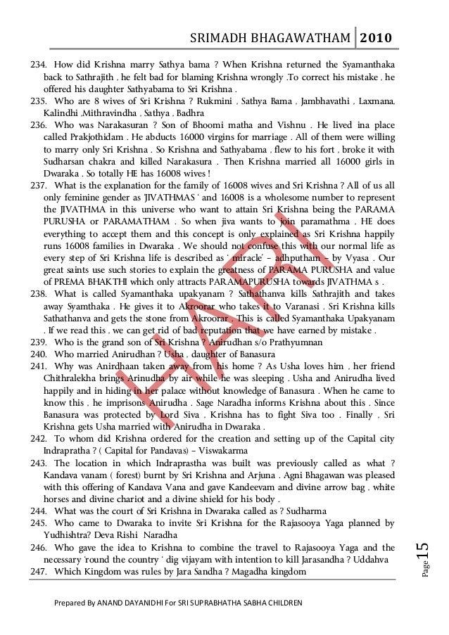 SRIMADHBHAGAWATHAM 2010       234. How did Krishna marry Sathya bama ? When Krishna returned the Syamanthaka   back t...