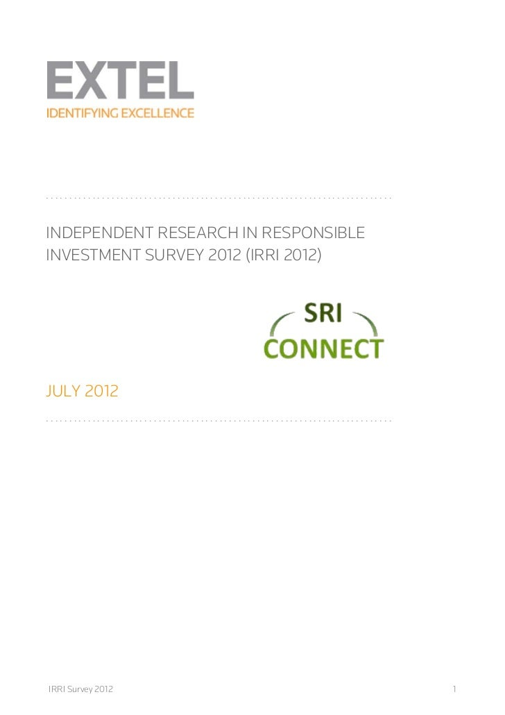 ..........................................................................INDEPENDENT RESEARCH IN RESPONSIBLEINVESTMENT SU...