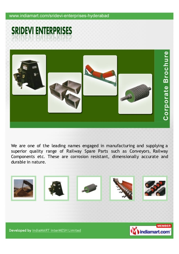 We are one of the leading names engaged in manufacturing and supplying asuperior quality range of Railway Spare Parts such...